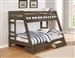 Wrangle Hill Twin Over Full Bunk Bed 3 Piece Set in Gun Smoke Finish by Coaster - 400830-S