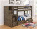 Wrangle Hill Twin Over Twin Bunk Bed 3 Piece Set in Gun Smoke Finish by Coaster - 400831-S