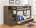 Wrangle Hill Twin Over Twin Bunk Bed 3 Piece Set in Gun Smoke Finish by Coaster - 400831-T
