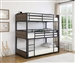 Nickerson Triple Twin Bunk Bed in Matte Black and Rustic Brown Finish by Coaster - 401080T
