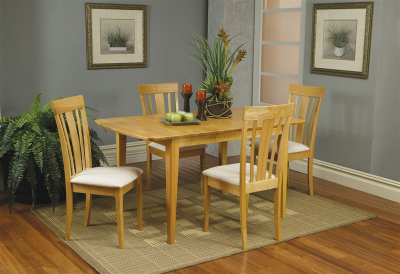 5 Piece Butterfly Leaf Dining Set In Maple Finish By Coaster