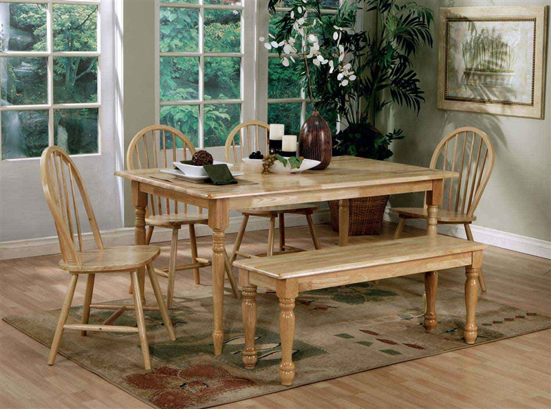 6 Piece Windsor Dining Set In Natural Finish By Coaster   4361