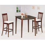 Cappuccino Finish Counter Height 3 Piece Bar Table Set by Coaster - 4555