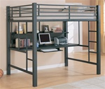 Full Workstation Loft Bed in Black Matted Finish by Coaster - 460023