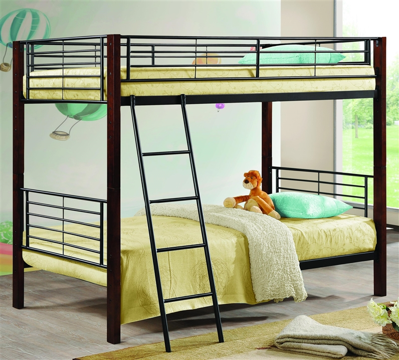 Twin/Twin Bunk Bed with Wood Posts & Metal Frame by Coaster - 460027