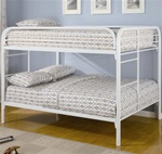 Metal Full/Full Bunk Bed in White Finish by Coaster - 460056W