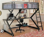 Full Workstation Loft Bed in Black Matted Finish by Coaster - 460092