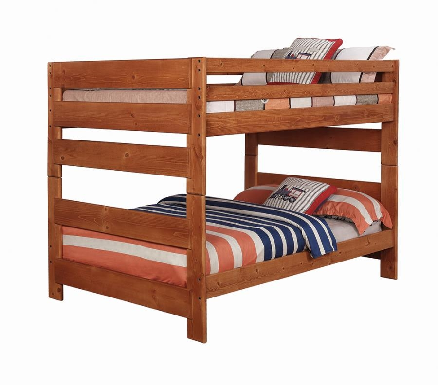 Wrangle Hill Full Over Full Bunk Bed In Amber Wash Finish