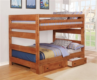 Wrangle Hill Full Over Full Bunk Bed 2 Piece Set in Amber Wash Finish by Coaster - 460096-S