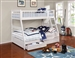 Ashton Storage Twin Full Bunk Bed in White Finish by Coaster - 460180
