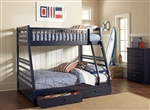Storage Twin Full Bunk Bed in Navy Blue Finish by Coaster - 460181