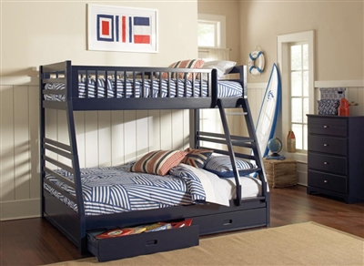 Ashton Storage Twin Full Bunk Bed in Navy Blue Finish by Coaster - 460181