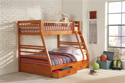 Ashton Storage Twin Full Bunk Bed in Honey Finish by Coaster - 460183