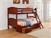 Parker Twin over Twin/Full Bunk Bed in Brown Cherry Finish by Coaster - 460212