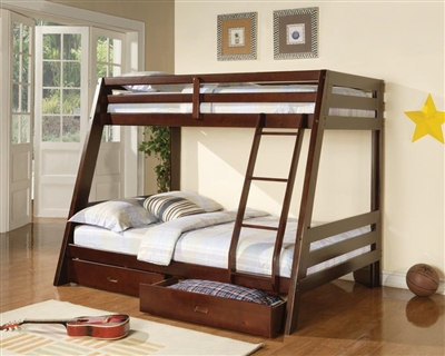 Hawkins Twin Over Full Bunk Bed in Medium Brown Finish by Coaster - 460228