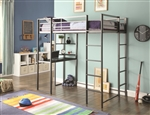 Metal Twin Workstation Loft Bed with Desk and 2 Ladders by Coaster - 460230