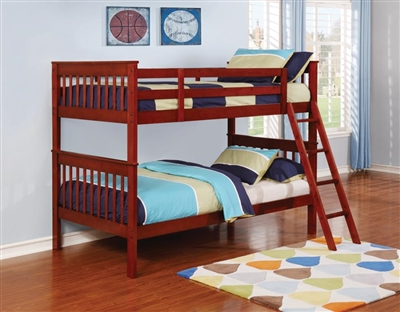 Parker Twin Twin Bunk Bed in Brown Cherry Finish by Coaster - 460231