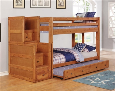 Wrangle Hill Twin Over Twin Bunk Bed 3 Piece Set in Amber Wash Finish by Coaster - 460243-T