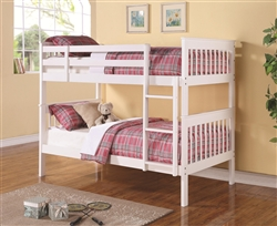 Chapman Twin Twin Bunk Bed in White Finish by Coaster - 460244