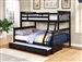 Chapman Twin Full Bunk Bed in Black Finish by Coaster - 460259
