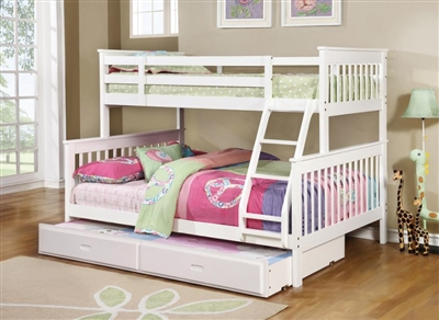 Chapman Twin Full Bunk Bed in White Finish by Coaster - 460260
