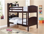 Parker Twin Bookcase Bunk Bed in Brown Cherry Finish by Coaster - 460442
