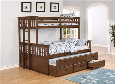 Atkin Twin Over Full Bunk Bed in Weathered Walnut Finish by Coaster - 461145
