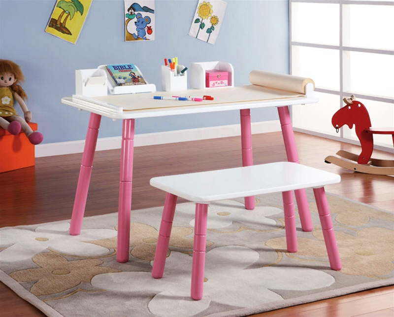 Growing Art Table Set In White And Pink Finish By Coaster 480004