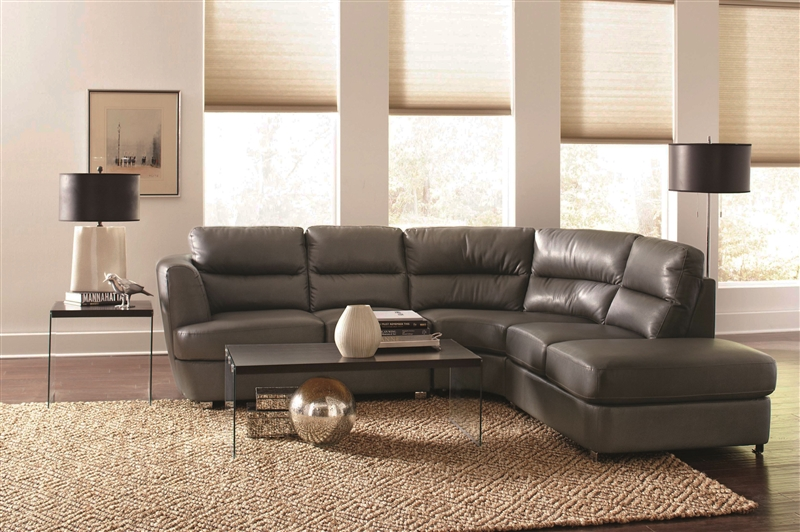 Chaisson Grey Leather Sectional By Coaster 500036