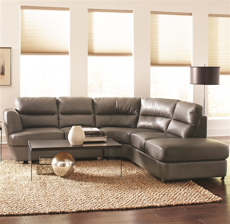 Excellent Chaisson Grey Leather Sectional By Coaster 500036 Machost Co Dining Chair Design Ideas Machostcouk