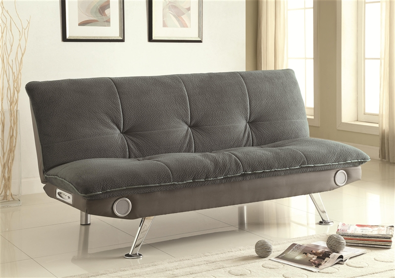 Grey Futon Sofa Bed with Built-In Bluetooth Speaker by Coaster - 500046