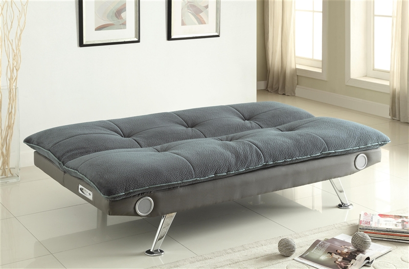 Grey Futon Sofa Bed With Built In Bluetooth Speaker By Coaster 500046