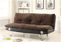 Brown Futon Sofa Bed with Built-In Bluetooth Speaker by Coaster - 500047