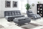 Dilleston Sofa Bed in Grey Leatherette Upholstery by Coaster - 500096