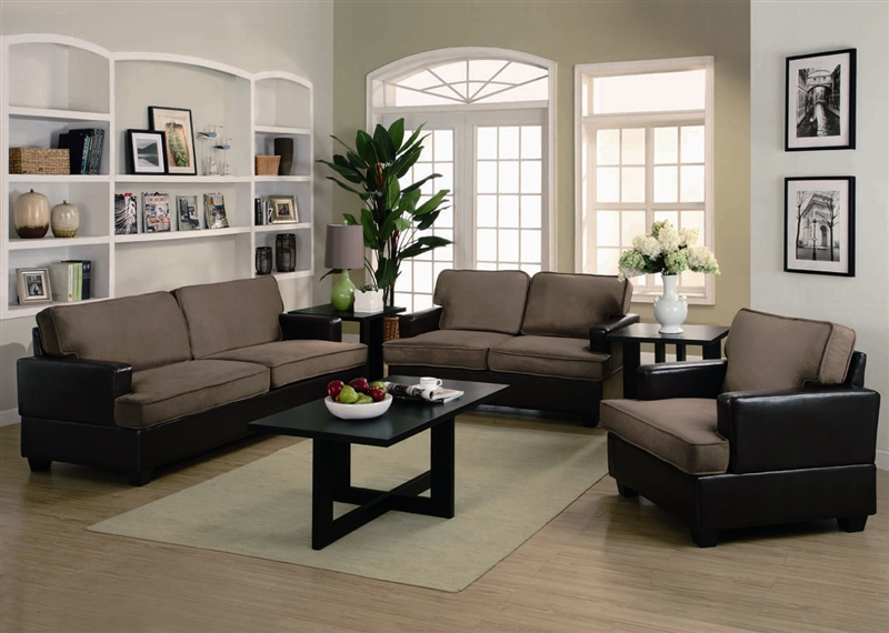 Caleb 3 Piece Sofa Set in two Tone Upholstery by Coaster - 500110