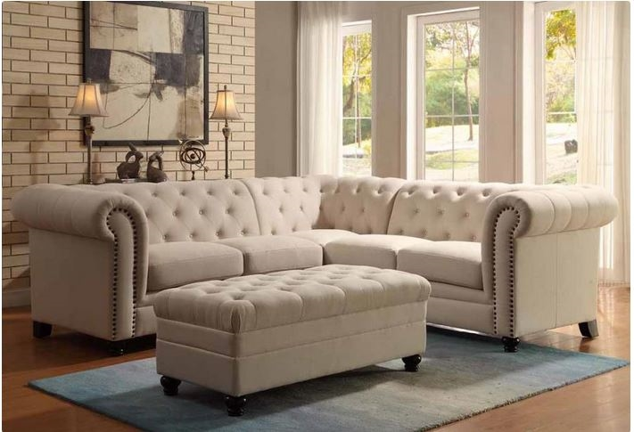 Sectional in Oatmeal Fabric by Coaster