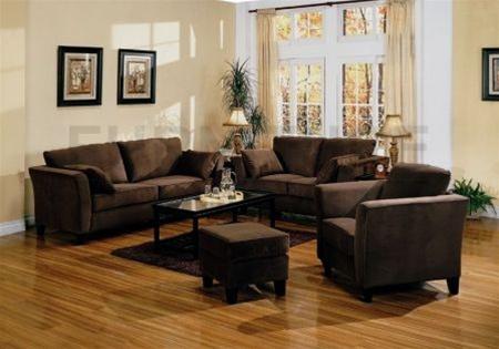 Park Place Brown Velvet Living Room Set By Coaster