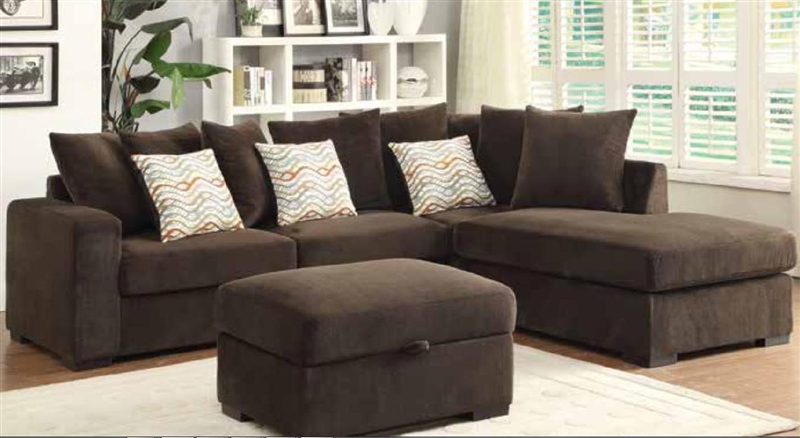Brown Microfiber Sectional Sofa By