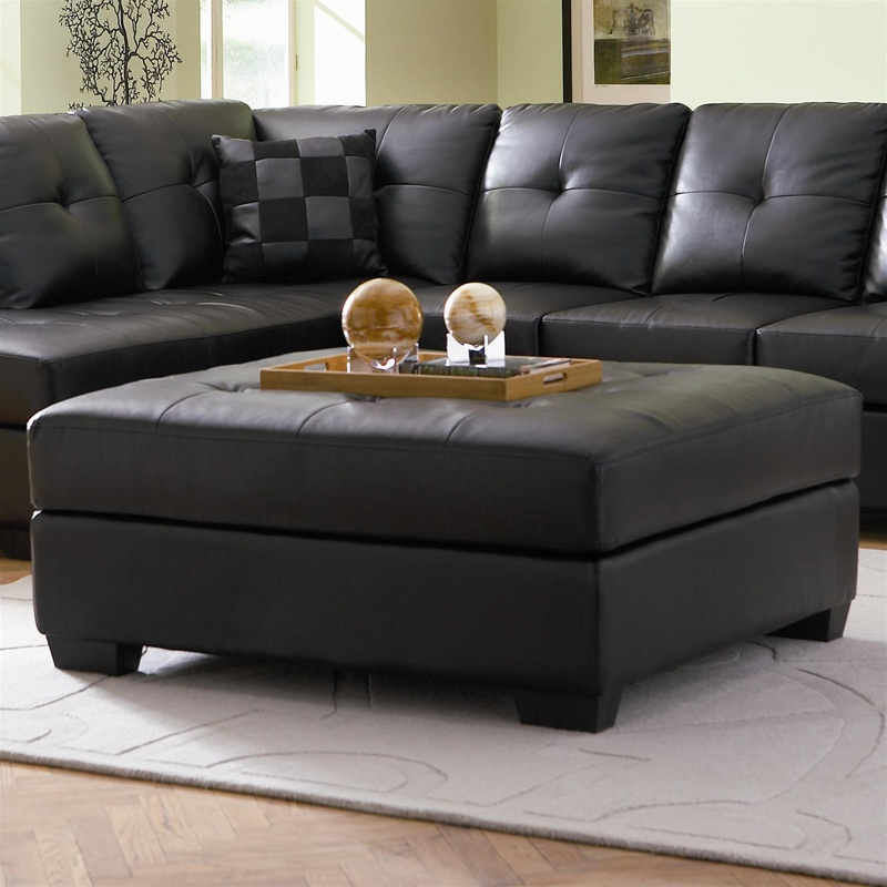 Darie Black Leather Ottoman By Coaster