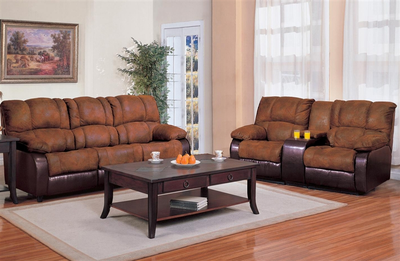 Tremendous Ronan 2 Piece Reclining Sofa Loveseat Set In Two Tone Cover Combination By Coaster 500623 2 Beutiful Home Inspiration Cosmmahrainfo