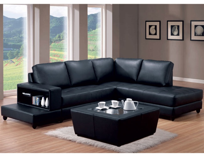 Black Leather Match Trenton L Shaped Sofa by Coaster - 500645R