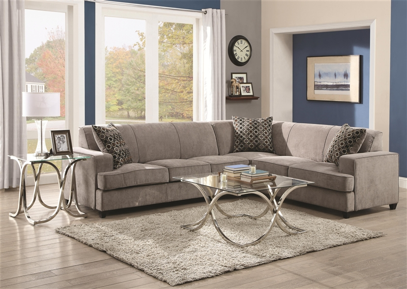 Pleasing Tess Queen Sleeper Sectional In Grey Fabric By Coaster 500727 Machost Co Dining Chair Design Ideas Machostcouk