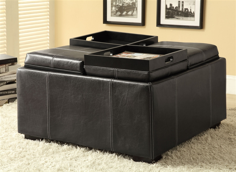 Incredible Multi Purpose Black Leather Like Storage Ottoman By Coaster 500876 Ibusinesslaw Wood Chair Design Ideas Ibusinesslaworg