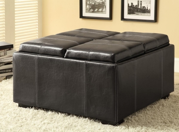 - Multi-Purpose Black Leather Like Storage Ottoman By Coaster - 500876