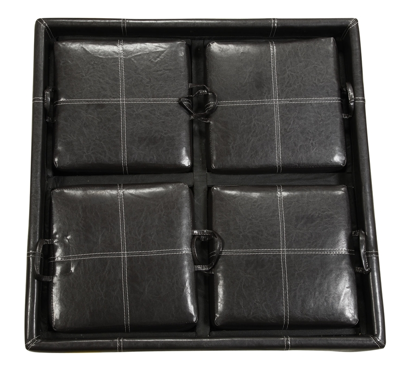 MultiPurpose Black Leather Like Storage Ottoman by Coaster500876