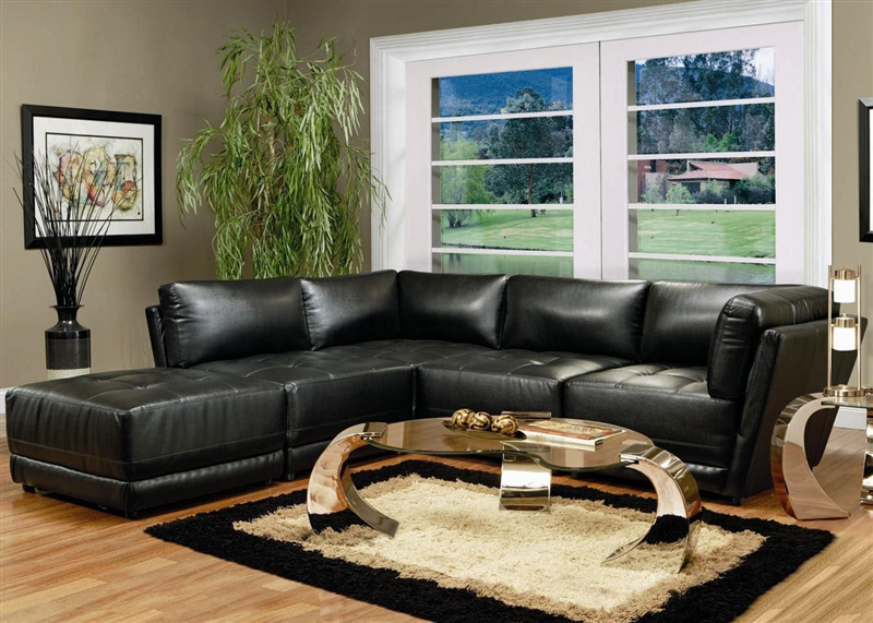 kayson 5 piece black leather sectional by coaster 500891. beautiful ideas. Home Design Ideas