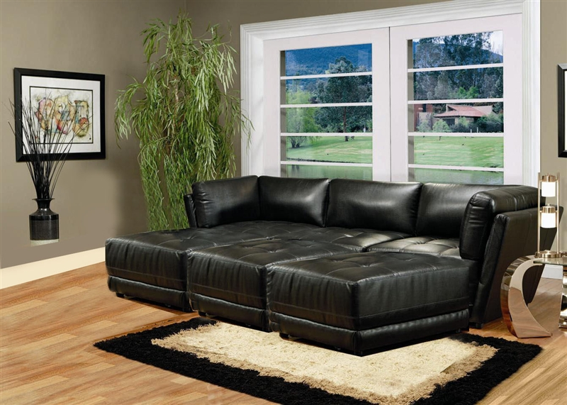 kayson 6 piece black white leather sectional by coaster
