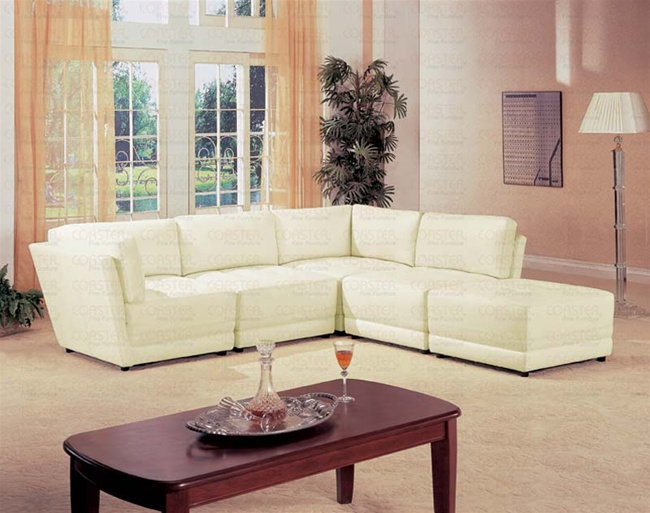 Kayson 5 Piece 100 White Leather Sectional By Coaster