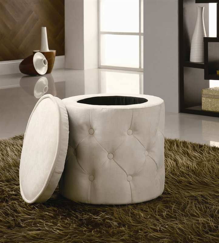 - Beige Round Storage Ottoman By Coaster - 500929