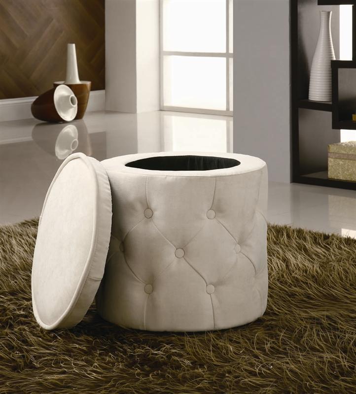 Astonishing Beige Round Storage Ottoman By Coaster 500929 Cjindustries Chair Design For Home Cjindustriesco